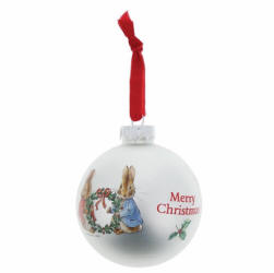 Peter Rabbit and Flopsy Holding Holy Wreath Bauble